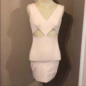 Blush pink V neck bodycon dress